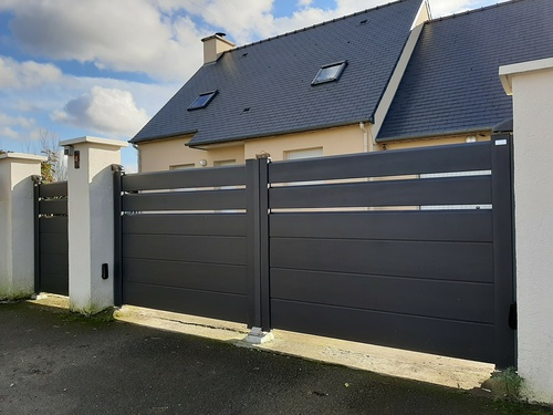 Installation portail et portillon et clôture alu noir sablé - Saint-Rieul