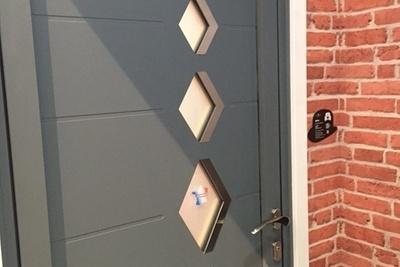Porte d''entrée mixte alu bois - mensuierie Art et Fenêtres- Plérin