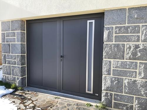 Porte de garage battante 2 vantaux alu noir - Langueux