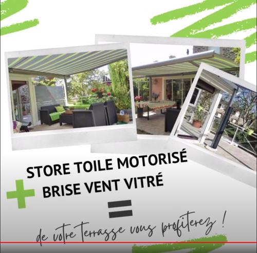 Store toile MARKILUX motorisé brise vent sur terrasse