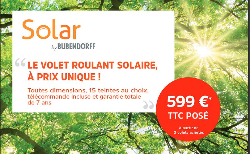 Volets roulants solaires à 599 € TTC prix posé* 0