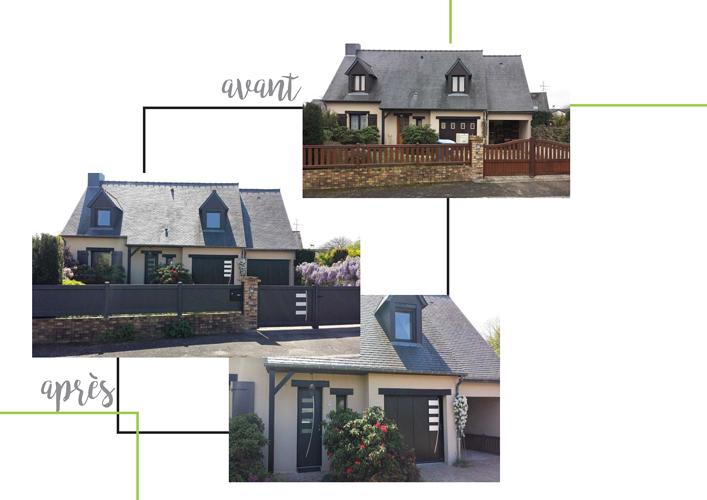 Rénovation complète : portail, clôture, portes de garage, fenêtres et porte d''entrée en aluminium 0