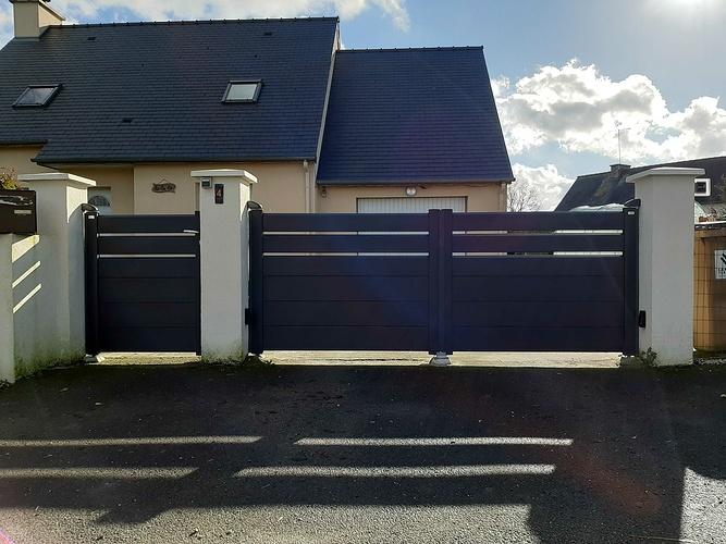 Installation portail et portillon et clôture alu noir sablé - Saint-Rieul 20210205141640