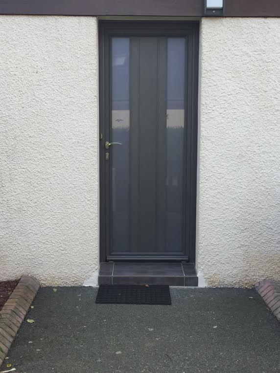 Porte d 39 arri re cour en alu gris anthracite pl rin for Porte entree gris anthracite