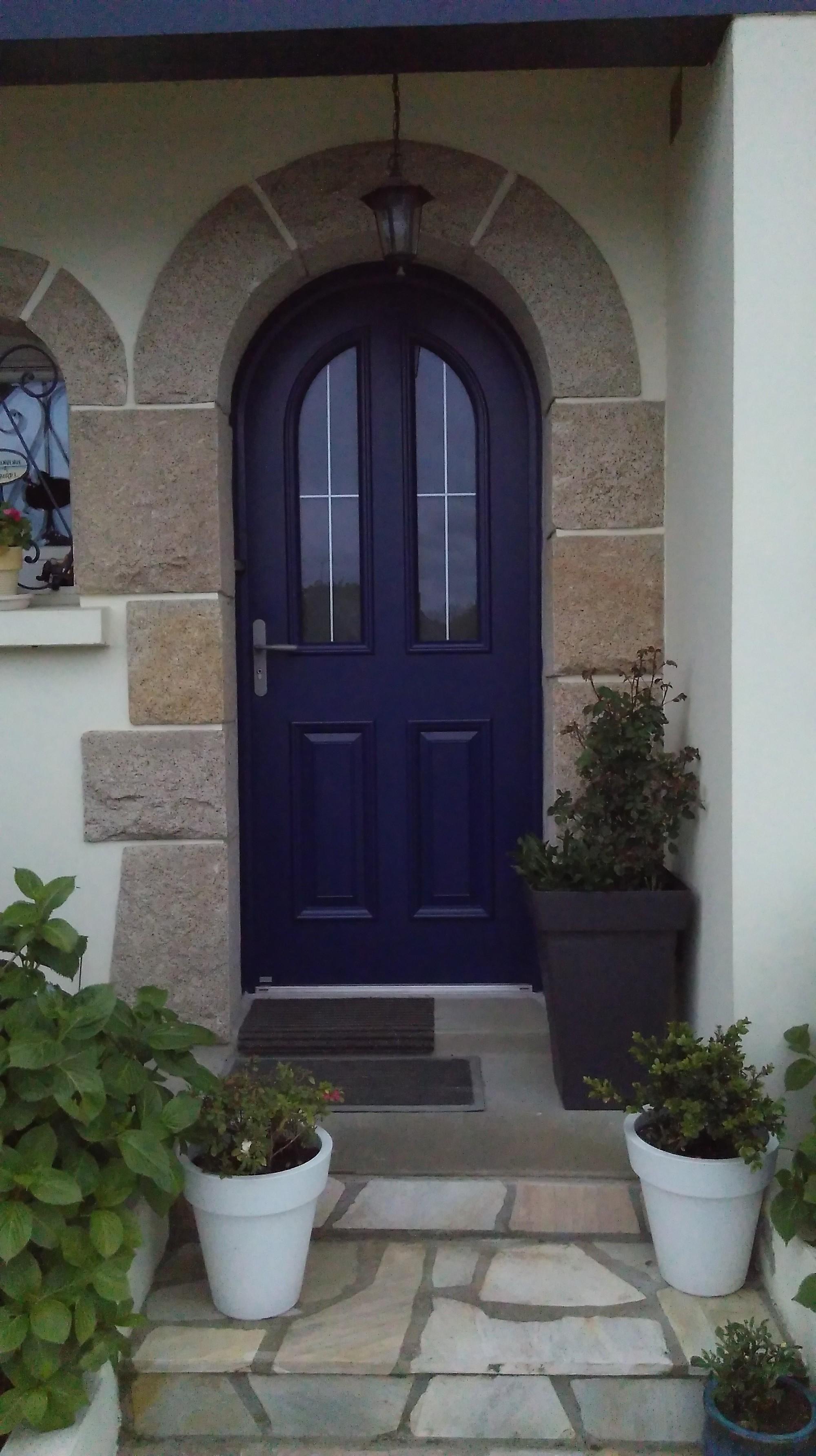 Porte d 39 entr e bleu alu mixte cintr e saint julien - Porte d entree cintree ...